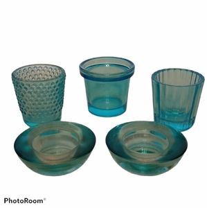 Glass Candle Holder Set - Turquoise Blue - 5 Piece